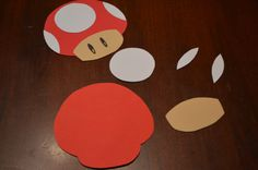 For my son's birthday party, we threw a Mario Party. We made invitations, cut from a template I made from toadstool napkins. I fr. Super Mario Birthday, Mario Birthday Party, Super Mario Party, 6th Birthday Parties, Birthday Ideas, Super Mario Brothers, Mario Y Luigi, Nintendo Party, Video Game Party