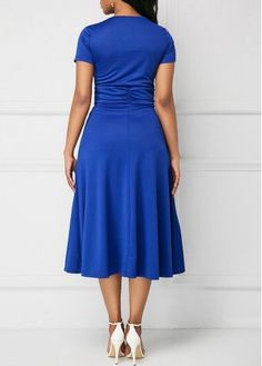 Plus Size Summer Women Short Sleeve Loose Plain Ladies Wrap Waistband Asymmetrical Ruffled Tunic Midi Dress Royal Blue S Elegant Dresses For Women, Casual Dresses, Wrap Dresses, Beautiful Dresses, Royal Blue Dresses, Blue Gown, Short Sleeve Dresses, Dresses With Sleeves, Colorblock Dress