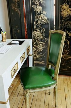 chinoiserie screen office space green chair by scout designs