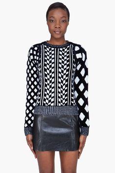 KENZO navy patterned velvet sweater
