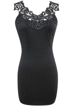 Lace Detail Body Conscious Dress - Pitaya - $36