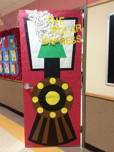 33 Amazing Classroom Doors for Winter and the Holidays : Bring some good cheer to your classroom with this holiday classroom doors and winter classroom door ideas. Then recreate them yourself! Polar Express Party, Polar Express Christmas Party, Polar Express Activities, Polar Express Crafts, Christmas Parties, Disney Christmas, Christmas Holidays, Christmas Door Decorating Contest, Holiday Door Decorations