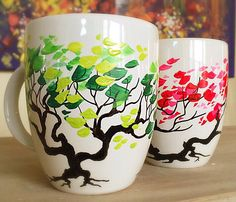 Trees in All Colors - Coffee Mugs - https://www.etsy.com/listing/271944342/trees-in-all-colors-coffee-mugs