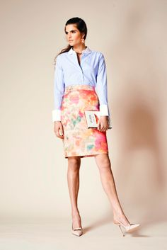 a spring work look we love: a fitted, feminine pencil skirt with a roomy, menswear-inspired button down shirt.