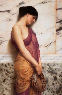John William Godward (1861-1922), The Tambourine Girl, Oil on canvas. c. 1906.