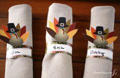 Printable turkey napkin rings - CherylStyle