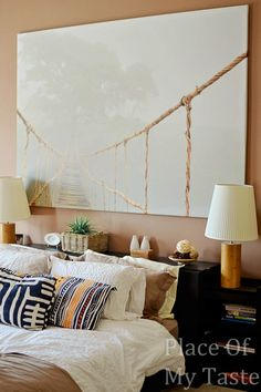 UPHOLSTERED HEADBOARD-IKEA MALM HACK  love the canvas