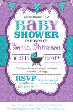 Teal Purple Damask Baby Shower Invitation Carriage Buggy Cute Theme Digital  Printable Customized 5x7 White Turquoise DIY Party