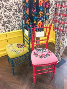 Gucci's new collection of home accessories and furniture includes these stunning Chiavari chairs in bold colors and embroidered seats. See the best of the line at www.pencilshavingsstudio.com