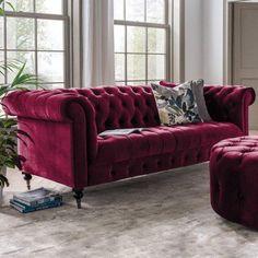 Red Velvet Sofa, Velvet Wingback Chair, Velvet Chesterfield Sofa, Upholstered Sofa, Alcove Seating, 3 Seater Sofa, Living Room Sofa, Sofa Design, Soft Furnishings