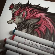 All finished. The original will be in the Sakura-Con art show unless someone wants to make an offer before then. ;) #pokemon #zoroark #zorua #pokemonbw #copicmarker #pen #drawing #art #copic