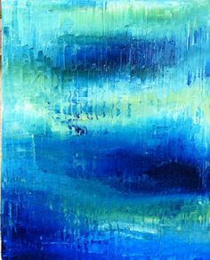 Beach Ocean Blue Abstract Painting, Abstract Ocean Art - Sapphire Blue, Turquiose, Soft Green - 16x20 Stretched Canvas
