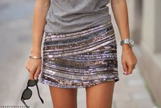 sequin mini, gray shirt