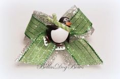 Chilly Willy Penguin Winter Casual Dog Bow by BellasDogBows for $4.99