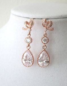 Rose Gold Cubic Zirconia Teardrop Earring - gifts for her, earrings, bridal gifts, drop, dangle, pink gold weddings, ribbon earrings, love, www.colormemissy.com, by ColorMeMissy