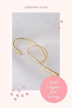 Golden Asymmetric Earrings Charm Irregular Stud Earrings Simple Earrings, Statement Earrings, Women's Earrings, Shape Patterns, Black Enamel, Women's Accessories, Diamond Engagement Rings, Jewelery, Women Jewelry