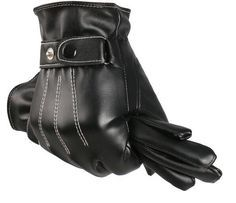 Keep yourself warm in the winter with this high quality leather glove set. Wonderful white weave design and adjustable strap with button. These gloves perfectly complement your professional attire. Fr