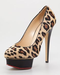 Polly Leopard-Print Calf Hair Platform Pump by Charlotte Olympia at Neiman Marcus.