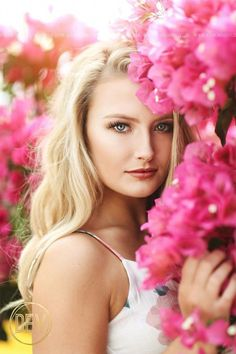 senior picture portrait photo idea natural backlit bougainvillea flowers pink close up