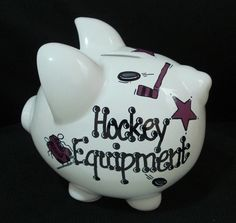 Personalized Hockey Bank by Dizigns on Etsy My son needs this!