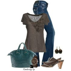 Brown Frilly Top and Dark Blue Jeans