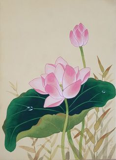 민화, 채색화 배우기 연화도 안녕하세요 :) 오늘의 연화도는 최근에 보여드렸던 파란 모란의 수강생분의 작... Watercolor Lotus, Lotus Painting, Watercolor Flowers, Japanese Flowers, Japanese Art, Lotus Artwork, Lotus Flower Art, Art Corner, China Art