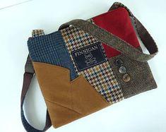 Recycled Crossbody Purse iPhone Purse pocket Zipper Purse Wool handbag Winter purse Clutch Bag Wool Eco Friendly Tote bag, Womens Purse