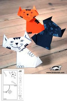 cat origami with printable template Cat Crafts, Halloween Crafts, Desenho Kids, Cool Paper Crafts, Origami Paper Art, Origami Animals, Art Lessons Elementary, Origami Tutorial, Craft Activities For Kids