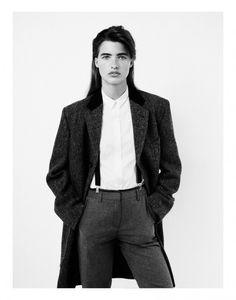 androgynous, suspenders, coat