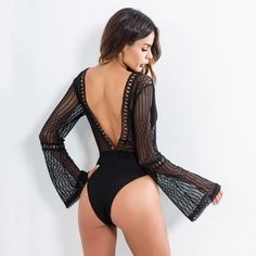Deep V Neck Flounce Sleeve Cut Out Bodysuit Tank Top Outfits, Body Suit Outfits, Body Suits, Night Out Outfit, Night Outfits, Bikinis For Small Bust, Casual Summer Outfits, Cute Outfits, Bodysuit Outfit Jeans
