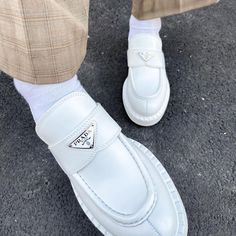 "MASHÄ on Instagram: ""Prada loafers white 👀🤤"" Types Of Shoes, Prada, Shoes Sneakers, Instagram, Loafers, Classy, Outfit, Women, Fashion"