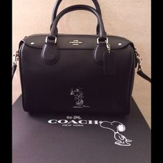 "FIRM Coach Snoopy Mini Bennett Leather Satchel Limited Edition Authentic Coach Snoopy Mini Bennett Black Leather Satchel. Black Silver. Inside zipper pocket, inside slip pocket. 9 1/4"" x 6 1/2 "" NWT Coach Bags Satchels"