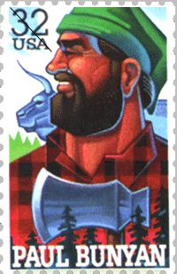 Paul Bunyan And Babe The Blue Ox Poster Digital Art Print By - Paul bunyan in us map