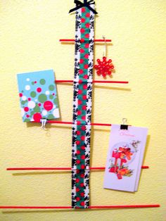 Duct Tape Card Tree  http://www.creatingreallyawesomefreethings.com/2010/12/christmas-craft-8-card-tree.html