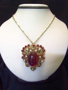 Vintage 1950s FLORENZA Necklace Dragons Breath Saphiret Rhinestone Glass Gold Plate Brooch Pin Pendant