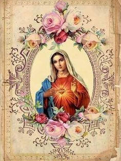 Immaculate Heart of Mary-vintage prayer card.