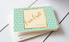 Teal Quatrefoil Business Card by iloladesign on @creativemarket