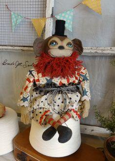 Primitive Folk Art Circus Monkey Handmade Doll OOAK