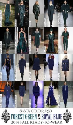 Colour Trend - 2014 Fall RTW Collection Review (Autumn/Winter) - Forest Green & Royal Blue Juan Carlos Obando, Fall Winter, Autumn, 2014 Trends, Christian Siriano, Fashion Colours, Season Colors, Carolina Herrera, Color Trends