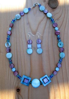Shell and Glass Bead Necklace and Earring Set