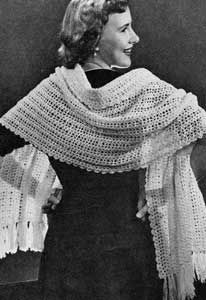 Shellstitch Stole  Pattern originally published by Fashions in Wool, Volume No. 76, in 1953.  free pattern