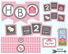 Pink Farm Birthday Party Decoration Package. by LilacsAndCharcoal. Girl's Farm Party, Pink Farm Party. Banner, Cupcake Toppers, Water Bottle Labels, Food Tents, Party Signs