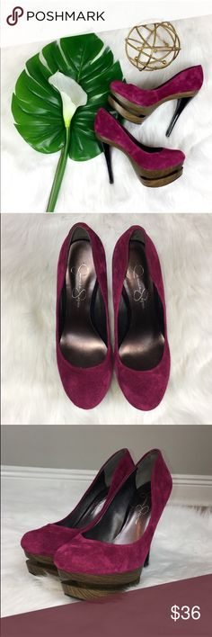 Jessica Simpson Double Platform Suede High Heels Jessica Simpson double platform suede high heels. Size 7 1/2' with 5' heels and 2' platforms. Pre-owned condition with some basic wear. Has a few scuffs on suede. No box included. They are a Faux wood and magenta color. ❌I do not Trade 🙅🏻 Or model💲 Posh Transactions Jessica Simpson Shoes Heels