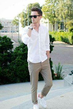 White shirt outfit ideas for men #MensFashionWhite