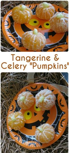 Make mini pumpkins from a peeled tangerine with a slice of celery for the stalk. So easy and cute! Makes a fun healthy Halloween snack