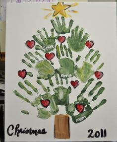 Handprint Christmas Tree Painting