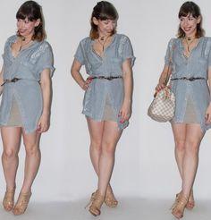 Look de verão: como usar camisa indiana de botão com saia listrada, sandália nude Schutz e bolsa Speedy Louis Vuitton - blog de moda e estilo
