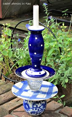 Cobalt ~ Blue and white candlestick holder whimsy by Garden Whimsies by Mary