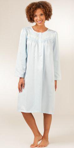 Miss Elaine Sleepwear - Brushed Back Satin Jacquard Waltz Gown in Blue  Nightgowns 3dbf2c013