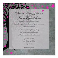 Pink and Grey Tree of Hearts Wedding Invitation